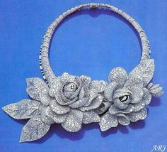 Egyptian Royal Jewels: Queen Nazli's Diamond Rose Necklace and Clips The stunning set was commissioned by Queen Nazli of Egypt in Sterling Silver Jewelry, Antique Jewelry, Gold Jewelry, Vintage Jewelry, Silver Ring, Royal Jewelry, High Jewelry, Jewelry Sets, Bling