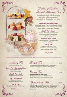 The English Rose Tea Room Menu in Scottsdale, Arizona Rosen Tee, Tee Sandwiches, Finger Sandwiches, English Afternoon Tea, English Tea Time, Tea Party Menu, Hp Sauce, Simply Yummy, Afternoon Tea Parties