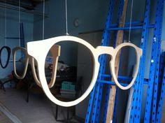 """work in progress"", pinned by Ton van der Veer Shop Front Design, Store Design, Eyeglass Stores, Eyewear Shop, Glasses Shop, Store Layout, Optical Shop, Crate Furniture, Frame Display"