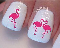 Pink Flamingo Nail Decals nail art designs by NAILTHINS