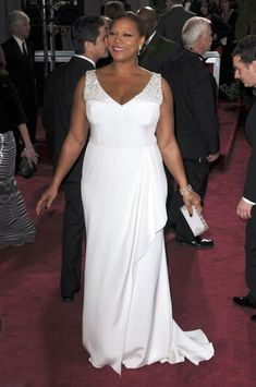 Queen Latifa in White Dress  #BestDressed @ #Oscars2013The 85th Annual Academy Awards in Hollywood