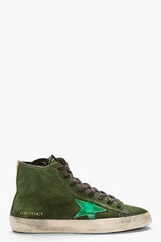 GOLDEN GOOSE MILITARY GREEN SUEDE FRANCY SNEAKERS - http://africanluxurymag.com/shop-item/golden-goose-military-green-suede-francy-sneakers/
