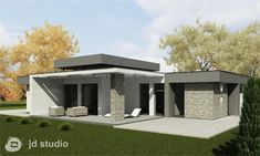Projekt interieŕu a exteriéru RD Dubnica - Modrástrecha. Brick House Designs, Small House Design, Modern House Design, Duplex House Plans, My House Plans, Flat Roof House, Facade House, Contemporary House Plans, Modern House Plans