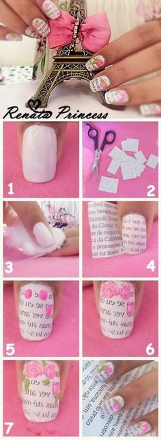 Nail art design is very important for women. There are many ways to decorate your nails with excellent nail art designs. Nowadays, a popular trend of nail design is newspaper nail art design. Newspaper nail art design is one of the simplest, fastest Cute Nail Art, Nail Art Diy, Diy Nails, Cute Nails, Pretty Nails, Book Nail Art, Beautiful Nail Designs, Cute Nail Designs, Pretty Designs