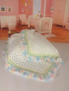 "Pastel Trimmed Crocheted Baby Blanket  34"" x 34"""