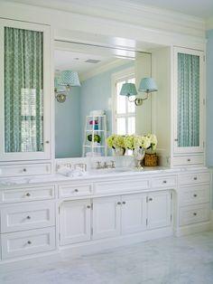 Bathroom. fabric behind glass doors. Lee Ann Thornton
