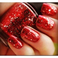 "OPI Muppets Collection, ""Gettin' Miss Piggy With It"" Red glitter nail polish Red Nails, Love Nails, How To Do Nails, Pretty Nails, Hair And Nails, Opi Red, Red Sparkly Nails, Nail Pink, Bright Nails"