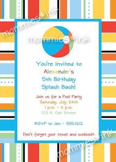 Pool Party Birthday Invitation - Beach Ball - PRINTABLE INVITATION