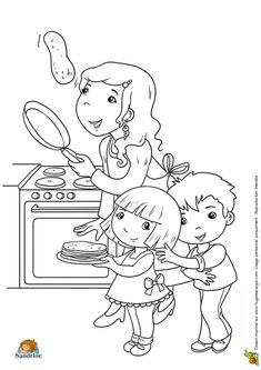 Dessin d'une maman qui fait sauter une crêpe devant ses enfants