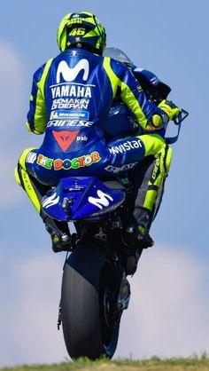 valentino rossi does a wheelie Valentino Rossi Logo, Motogp Valentino Rossi, Gp Moto, Moto Bike, Motorcycle Bike, Velentino Rossi, Moto Wallpapers, Course Moto, Yamaha Motorcycles