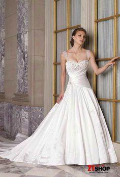 Wedding Dress - Straps Sweetheart Beaded Satin Elegant