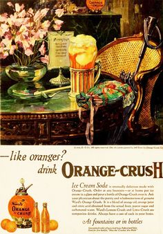 An Orange Crush float is always a sweetly fantastic treat! #food #1920s #soda #pop #ad