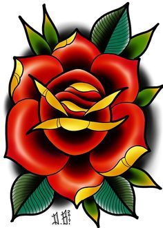 Rose tattoo flash by Darin Blank. Instagram: @darinblanktattoos