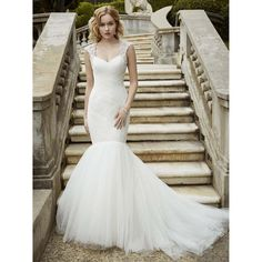 Graceful Mermaid Tulle Long Wedding Dresses 2017 Cap Sleeve V-Neck Applique Beading Backless Court Train Hot Sale Bridal Gowns * AliExpress Affiliate's buyable pin. Locate the offer on www.aliexpress.com simply by clicking the VISIT button #MermaidWeddingDress