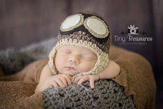 put him in old luggage from shower and hat for picture  NEWBORN AVIATOR HAT with goggles Photography Prop  by BGStudios, $35.00
