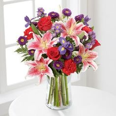 Stunning Stars is an elegant arrangement with an array of red roses, pink lilies and purple irises, perfect for Grandparents Day. Get Well Flowers, Flowers Today, Cat Flowers, Flowers Online, Purple Flowers, Spring Flowers, Purple Iris, Pink Lily, Hot Pink Roses