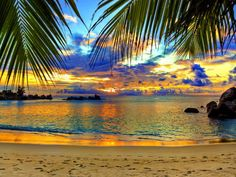 Picture of Tropical beach at sunset - nature background stock photo, images and stock photography. Wallpaper Praia, Beach Wallpaper, Of Wallpaper, Scenery Wallpaper, Computer Wallpaper, Vacation Destinations, Dream Vacations, Vacation Spots, Strand Wallpaper