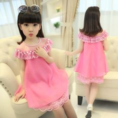 100-160 Summer Girls Evening Dress 2016 Children Clothes Kids Chiffon Princess Dresses Baby Girl Party Dress With Pearl Necklace