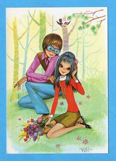 Vintage postcard 70s. Cute romantic mod couple (nr2).