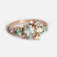 Green Sapphire Ring Cluster Ring Rose Gold Cluster by capucinne