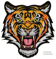 BENGAL TIGER PATCH embroidered iron-on Jungle Safari Souvenir Wild Animal Roaring