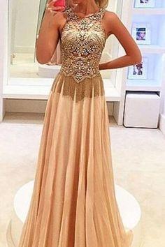 Champagne long prom dress,beading chiffon long evening dress