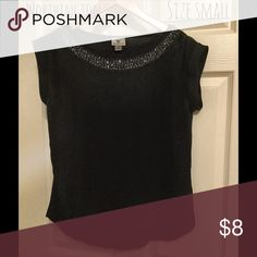 Black top Black dress top with rounded hem and clear beading at neckline Worthington Tops
