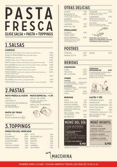 Macchina Pasta Bar Barcelona - The Menu Restaurant Design, Carta Restaurant, Cafe Menu Design, Food Menu Design, Restaurant Menu Template, Logo Restaurant, Cafeteria Menu, Cafeteria Design, Pasta Menu
