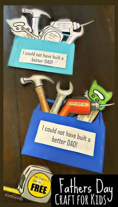 FREE Toolbox Fathers Day Craft - This super cute, toolbox themed Fathers Day Craft is such a fun craft kids can make for Dad to celebrate Father's Day on June Simply print the free template, cute, color, fill in and present your gift to Daddy! Kids Fathers Day Crafts, Fathers Day Art, Homemade Fathers Day Gifts, Fun Crafts For Kids, Toddler Crafts, Happy Fathers Day, Craft Kids, Gifts For Kids, Craft Free