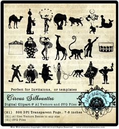Circus Clipart, Circus SVG, Cutting File, Silhouette Vectors, Clown Clip art…