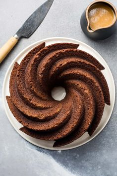 Gingerbread Bundt Cake with Caramel Sauce — Flourishing Foodie Delicious Cake Recipes, Best Cake Recipes, Yummy Cakes, Cookie Desserts, Holiday Desserts, Caramel Ingredients, How To Melt Caramel, Sticky Toffee Pudding, Gingerbread Cake