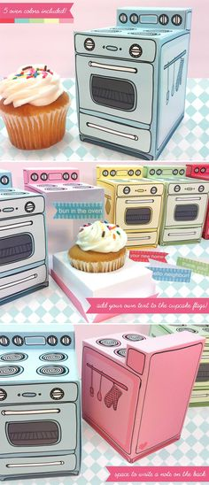 "DIY: Retro Oven Cupcake Box | techlovedesign.com  OH MY. ""Thanks for helping @Riann . . . . Horan become a good wimin"" LOLOL"