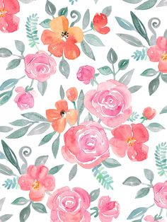 Amelia Floral in Pink and Peach Watercolor Art Print by Micklyn | Society6