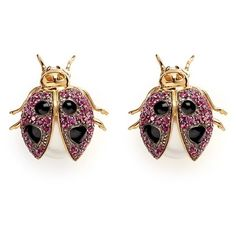 Anabela Chan 'Ladybird' pearl ruby garnet 18k yellow gold stud... ($1,110) ❤ liked on Polyvore featuring jewelry, earrings, pink, 18 karat gold earrings, pearl stud earrings, pink pearl earrings, pink stud earrings and 18k gold earrings