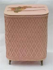 Pink wicker needlework basket
