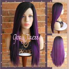 Ready to Ship Long & Straight Full Wig Ombre Purple Wig Yaki Straight... ($75) ❤ liked on Polyvore featuring beauty products, haircare, hair styling tools, bath & beauty, hair care, purple and wigs