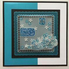 Tina Cox: Blue Happy Birthday Card with a Random Shoe