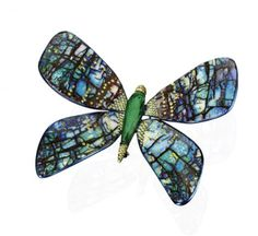 Butterfly Opal and Emerald Brooch inlaid with Diamond - Photo courtesy of BOGH-ART