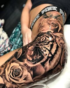 Thigh Tattoo Ideas For Women - Best Tattoos For Women: Cute, Unique, and Meaning. - Thigh Tattoo Ideas For Women – Best Tattoos For Women: Cute, Unique, and Meaningful Tattoo Ideas - Tiger Tattoo Thigh, Tigh Tattoo, Girl Thigh Tattoos, Hip Tattoos Women, Dope Tattoos, Badass Tattoos, Great Tattoos, Trendy Tattoos, Body Art Tattoos