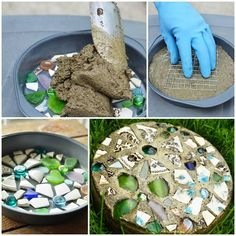 DIY Mosaic Stepping Stone with Cake Pan | UsefulDIY.com Follow Us on Facebook ==> http://www.facebook.com/UsefulDiy