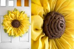 Burlap sunflower wreaths are very popular so why not make a burlap flower for every season? These burlap flowers are perfect for hanging on the front door. Burlap Crafts, Wreath Crafts, Diy Wreath, Flower Crafts, Sunflower Burlap Wreaths, Burlap Flowers, Cloth Flowers, Fabric Flowers, Burlap Wreath Tutorial