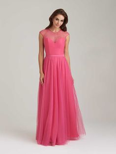 Wedding Dresses Ball Gown, Fashionable Tulle & Satin Jewel Neckline Illusion Sleeves Mermaid Bridesmaid Dresses With Lace Appliques DressilyMe Pink Bridesmaid Dresses Long, Pink Wedding Dresses, Tulle Wedding, Wedding Bridesmaids, Corsage, Ball Dresses, Prom Dresses, Dresses 2016, Pageant Gowns