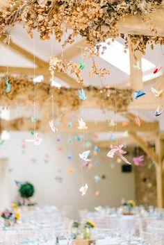 Colourful Paper Cranes & Sunflower Wedding Décor in Rustic Barn Plan Your Wedding, Diy Wedding, Rustic Wedding, Origami Wedding, Whimsical Wedding, Wedding Shoot, Summer Wedding, Wedding Stuff, Wedding Planning