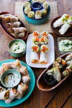 Muchas recetas de rollos de papel de arroz en Cherrytomate. Veggie Recipes, Asian Recipes, Vegetarian Recipes, Healthy Recipes, Ethnic Recipes, Do It Yourself Food, Good Food, Yummy Food, Exotic Food