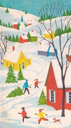 Snowy Village. Winter Scene. Vintage Christmas Card. Retro Christmas Card.