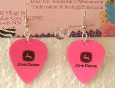 John Deere guitar pick earrings
