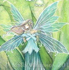 Lily of the Valley Flower Fairy Fine Art  Watercolor Print of Painting 9 x 12