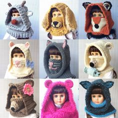 Terrific Pictures Crochet cowl animal Tips You can get your animal cowl crochet pattern here. Crochet Rug Patterns, Crochet Stitches, Knitting Patterns, Cowl Patterns, Knitting Tutorials, Crochet Hooded Cowl, Crochet Beanie, Crochet For Kids, Crochet Baby