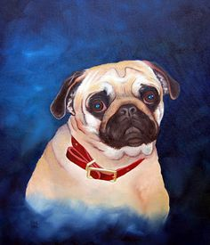 Cute pug - painting by Gail Vail