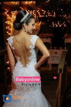Vestidos De Noiva Sereia 2016 Sexy docinho apliques De renda Mermaid Wedding Dresses vestido De Noiva com Sheer Tulle voltar